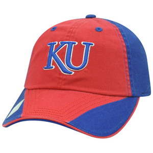 NCAA Garment Washed Flip Red Relaxed Kansas Jayhawks Sun Buckle Two Tone Hat Cap