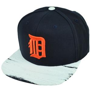 MLB American Needle Detroit Tigers Paint Stroke Snapback Hat Cap Flat Bill Blue