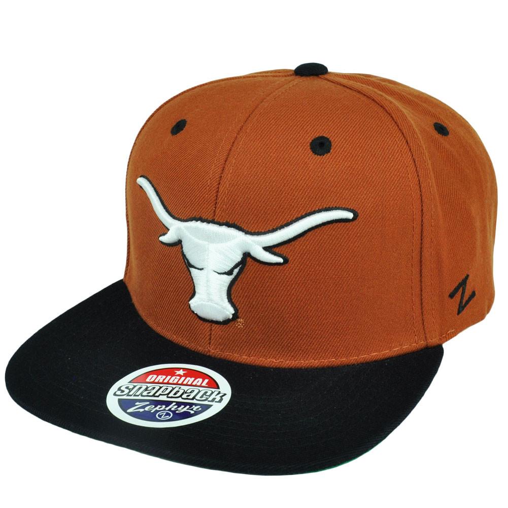 4e61672a1de NCAA Zephyr Texas Longhorns Apex Burnt Orange Snapback Flat Bill Hat ...