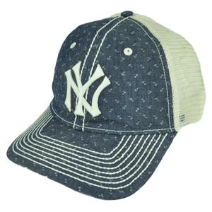 MLB American Needle New York Yankees Denim Mesh Relaxed Belt Buckle Hat Cap Blue