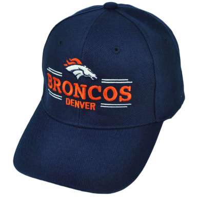 info for dd291 0eae2 NFL Denver Broncos Velcro Navy Blue Hat Cap Sports Adjustable Cotton  Football. Image 1. Loading zoom