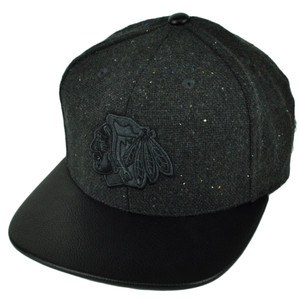 NHL American Needle Chicago Blackhawks Faux Leather Flat Bill Hat Cap Black
