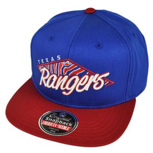 MLB American Needle Texas Rangers Snapback Flat Bill Hat Cap Blue Sports Red