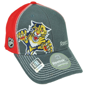 NHL Reebok Florida Panthers M0711 Flex Fit Small Medium Stretch Hat Cap Red Gray
