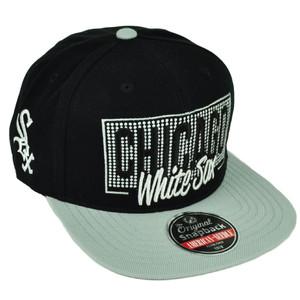 MLB American Needle Chicago White Sox Snapback Flat Bill Hat Cap Black Sports