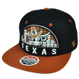 NCAA Zephyr Texas Longhorns Equalizer Snapback Flat Bill Black Hat Cap  Sports db286c363b89