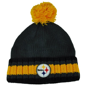 NFL Pittsburgh Steelers Cuffed Pom Pom Gray Yellow Woven Knit Beanie Toque Hat