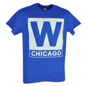 MLB Chicago Cubs W Mens Adult Tshirt Tee Blue Short Sleeve Cotton Baseball Sport