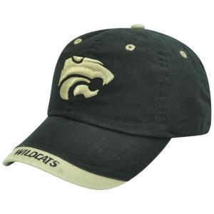 Kansas State Wildcats NCAA Khaki Tip Black Garment Washed Sun Buckle Hat Cap