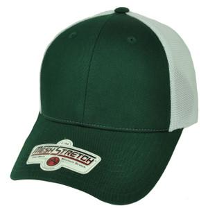 American Needle Green White Flex Fit Large XLarge Blank Plain Solid Hat Cap Mesh