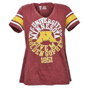 NCAA Minnesota Golden Gophers Medium Tshirt Tee Womens Burgundy Short Sleeve