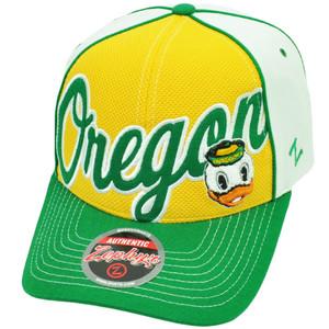 NCAA Zephyr Oregon Ducks Uprising Velcro Hat Cap Yellow White Sports Curved Bill