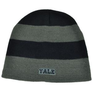 NCAA Yale Bulldogs Striped Knit Beanie Navy Blue Gray Toque Hat Cuffless Skully