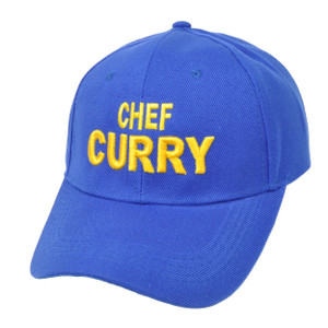 NBA Golden State Warriors Chef Curry Velcro Blue Adjustable Hat Cap Curved Bill