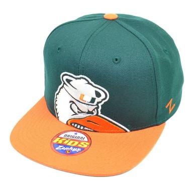 ab1da76ec2651 NCAA Zephyr Miami Hurricanes Canes Peek Snapback Flat Bill Hat Cap Green  Kids - Cap Store Online