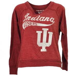 NCAA Indiana Hoosiers Long Sleeve Tshirt Tee Burgundy Womens Loose Fit Sports