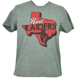 NCAA Texas Tech Red Raiders Gray Tshirt Tee Mens Short Sleeve State Map Logo