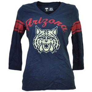 NCAA Arizona Wildcats Striped Long Sleeve Tshirt Womens Navy Blue Ladies Sport