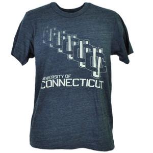 NCAA UConn Huskies Connecticut Repeat Logo Blue Shot Sleeve Mens Tshirt Tee
