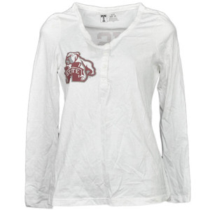 NCAA Mississippi State Bulldogs White Womens Long Sleeve Tshirt Button Crew Neck