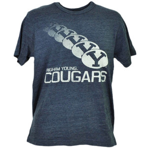 NCAA Brigham Young Cougars BYU Repeat Logo Tshirt Tee Mens Short Sleeve Blue