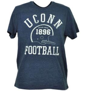 NCAA UConn Huskies Connecticut Blue Helmet 1896 Football Distressed Mens Tshirt