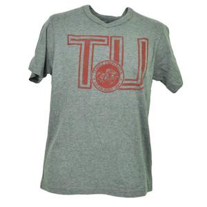 NCAA Temple Owls Crest Gray Short Sleeve Tshirt Tee Crew Neck Mens Distressed