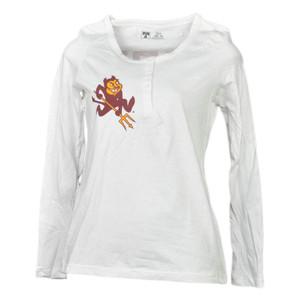 NCAA Arizona Sun Devils White Womens Long Sleeve Tshirt Henley Fork'em Devils