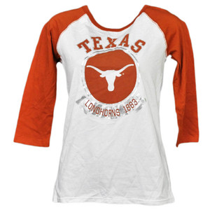 NCAA Texas Longhorns 1883 Foil Logo Mid Sleeve Tshirt Tee Womens Adult Ladies