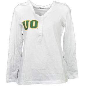 NCAA Oregon Ducks White Womens Adult Long Sleeve Tshirt Button Crew Neck Henley