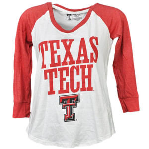 NCAA Texas Tech Red Raiders Mid Sleeve Tshirt Tee Womens White Crew Neck Sports