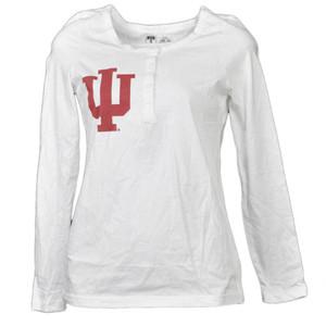 NCAA Indiana Hoosiers White Womens Long Sleeve Tshirt Button Crew Neck Henley