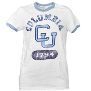 NCAA Columbia Lions Distressed Short Sleeve Mens Tshirt Tee CU Crew Neck Sports