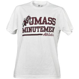 NCAA UMass Minutemen Massachusetts White Underline Logo Tshirt Tee Short Sleeve
