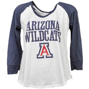 NCAA Arizona Wildcats Mid Sleeve Tshirt Tee Womens White Blue Crew Neck Sports