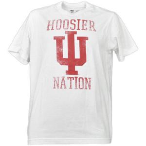 NCAA Indiana Hoosiers Nation White Distressed Tshirt Tee Mens Short Sleeve Adult