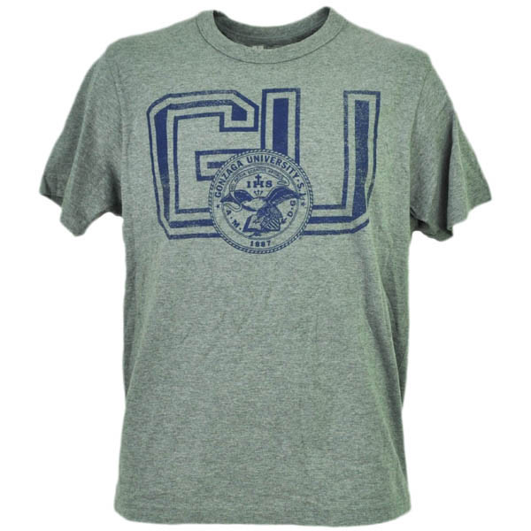a45432037b3 NCAA Gonzaga Bulldogs Gray Tshirt Tee Mens Distressed Short Sleeve ...
