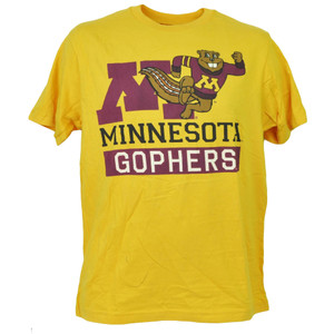 NCAA Minnesota Golden Gophers Yellow Tshirt Tee Short Sleeve Mens Crew Neck