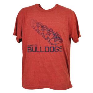 NCAA Gonzaga Bulldogs Repeat Logo Red Tshirt Tee Mens Short Sleeve Crew Neck