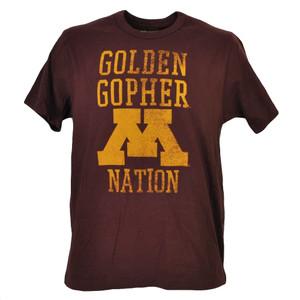 NCAA Minnesota Golden Gophers Nations Burgundy Tshirt Tee Short Sleeve Mens Spor