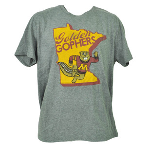 NCAA Minnesota Golden Gophers State Map Logo Mens Tshirt Tee Gray Short Sleeve