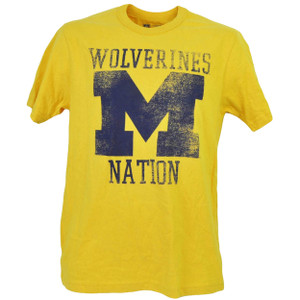 NCAA Michigan Wolverines Nation Yellow Distressed Tshirt Tee Mens Short Sleeve