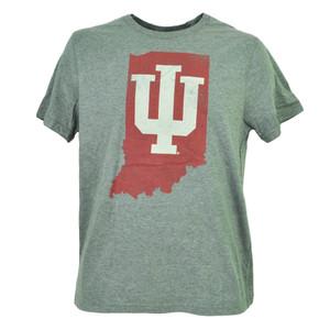 NCAA Indiana Hoosiers State Map Logo Gray Mens Tshirt Tee Short Sleeve Crew Neck