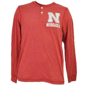 NCAA Nebraska Cornhuskers Long Sleeve Mens Tshirt Red Button Distressed Henley