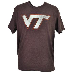 NCAA Virginia Tech Hokies Distressed Logo Tshirt Tee Mens Crew Neck Burgundy
