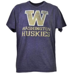 NCAA Washington Huskies Distressed Logo Mens Tshirt Tee Short Sleeve Crew Neck
