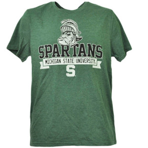 NCAA Michigan State Spartans Crew Neck Short Sleeve Green Tshirt Tee Mens Sport