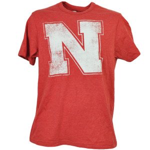 NCAA Nebraska Cornhuskers Distressed Logo Tshirt Tee Mens Short Sleeve Sports