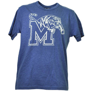 NCAA Memphis Tigers Distressed Logo Mens Tshirt Tee Short Sleeve Blue White