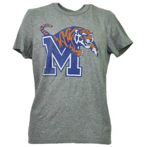 NCAA Memphis Tigers Distressed Gray Adult Mens Tshirt Tee Short Sleeve Sports